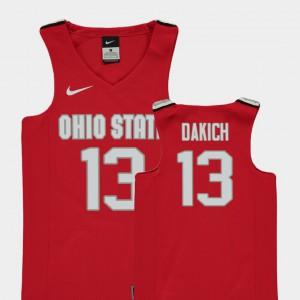 Youth(Kids) Basketball Replica Ohio State Buckeyes #13 Andrew Dakich college Jersey - Red