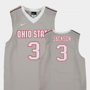 Youth Basketball Replica Buckeyes #3 C.J. Jackson college Jersey - Gray