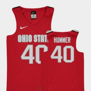 Youth(Kids) #40 Basketball OSU Buckeyes Replica Daniel Hummer college Jersey - Red