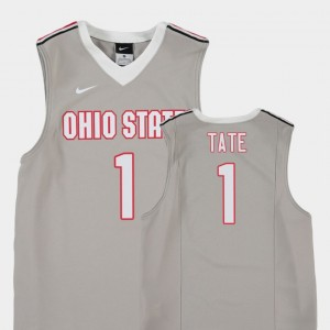 Kids #1 Replica Basketball Ohio State Jae'Sean Tate college Jersey - Gray