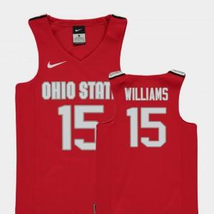 Kids OSU Buckeyes #15 Basketball Replica Kam Williams college Jersey - Red