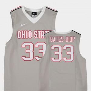 Kids Basketball #33 Replica OSU Buckeyes Keita Bates-Diop college Jersey - Gray