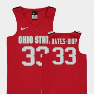 Youth(Kids) Ohio State Buckeye Basketball #33 Replica Keita Bates-Diop college Jersey - Red